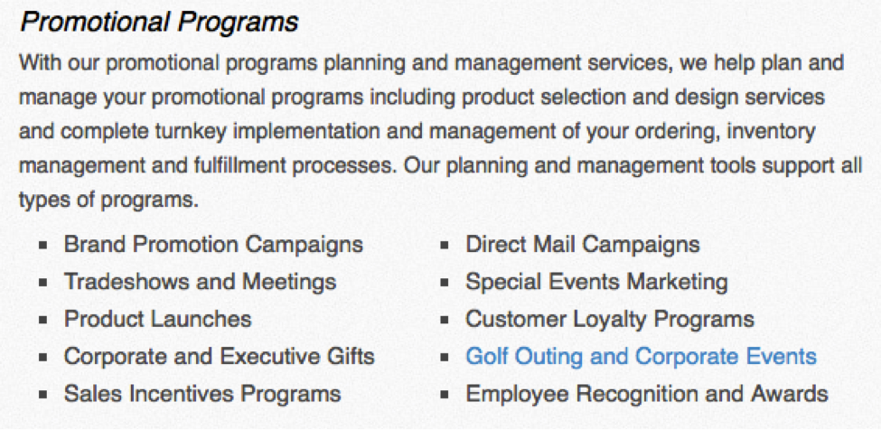 Promotional Programs: Brand Promotion, Tradeshows, Corporate Gifts, Golf Outing