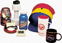 Group of custom promotional products - hats, mugs, water bottles