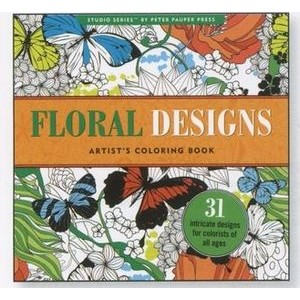 Adult coloring book with floral designs