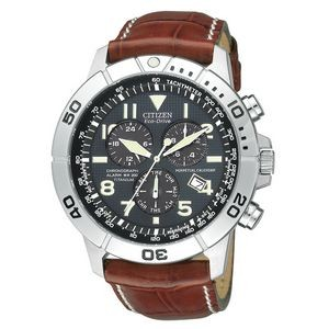 Custom Branded Citizens Men's Eco-Drive Stainless Steel Chronograph Leather Strap Watch from Pedre