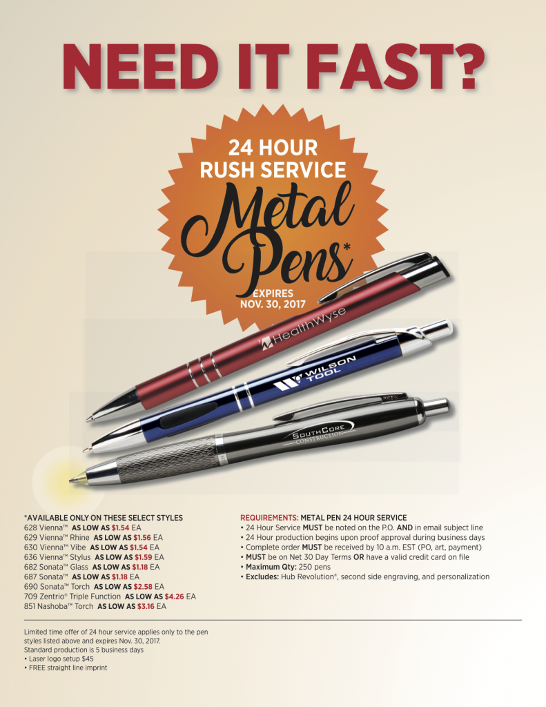 Need Custom Pens in a Rush?