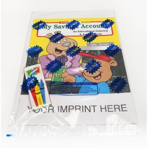 custom kids coloring book for promotional marketing in financial industries