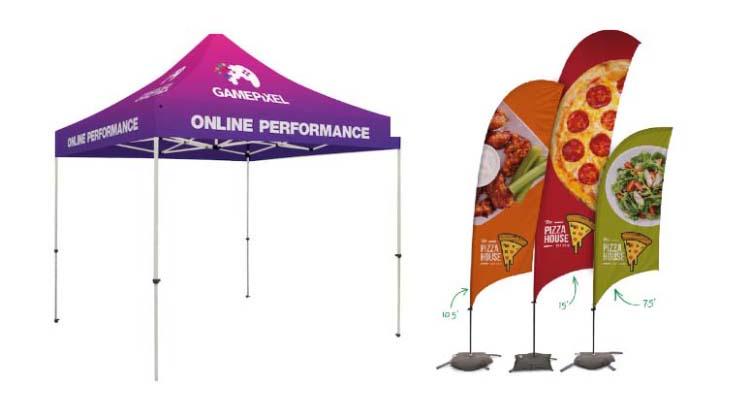 Custom tents and razor sail signs.
