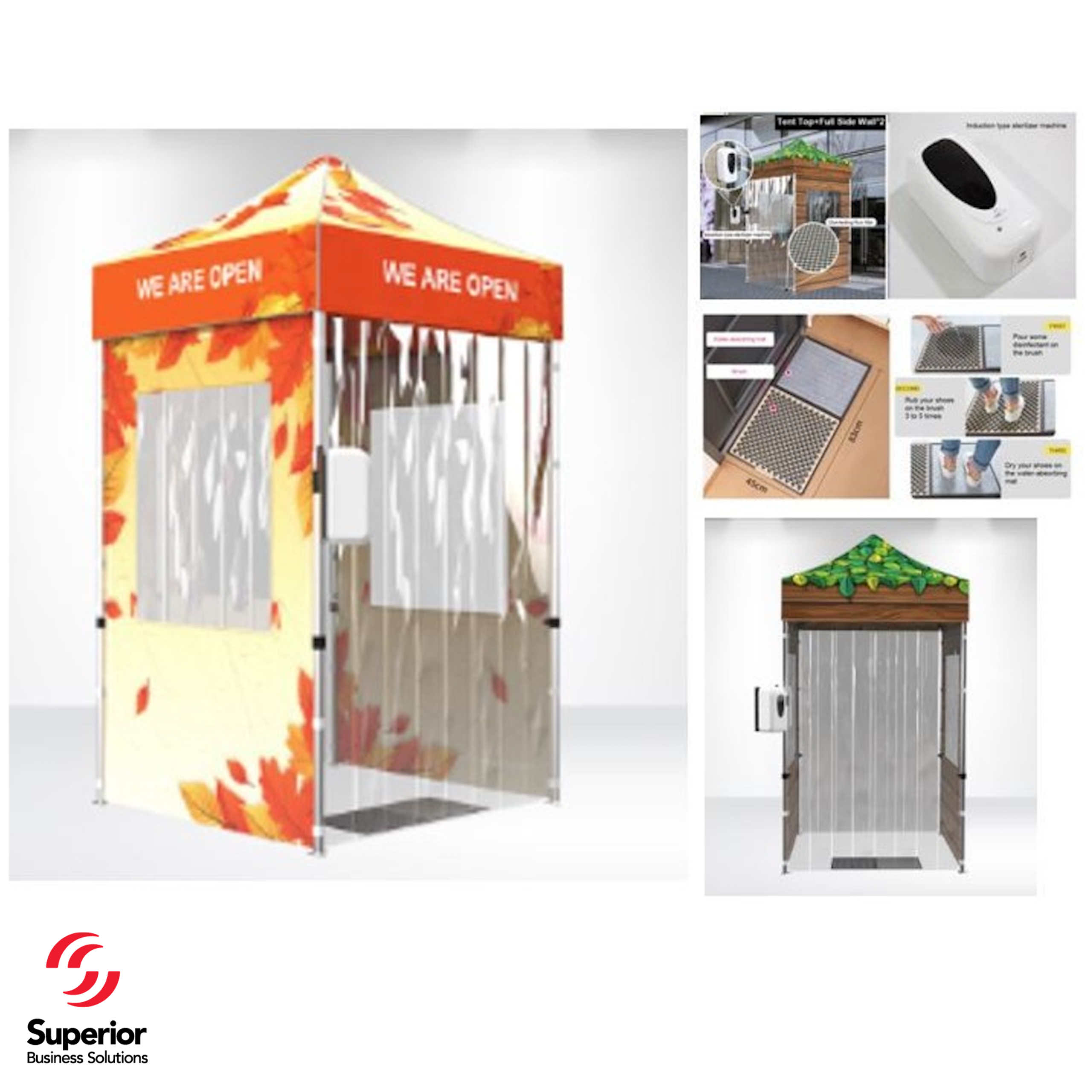 5 Ft. Entrance Tent with Hand Sterilizer and Disinfecting Floor Mat and Holder - FULL KIT BRANDED