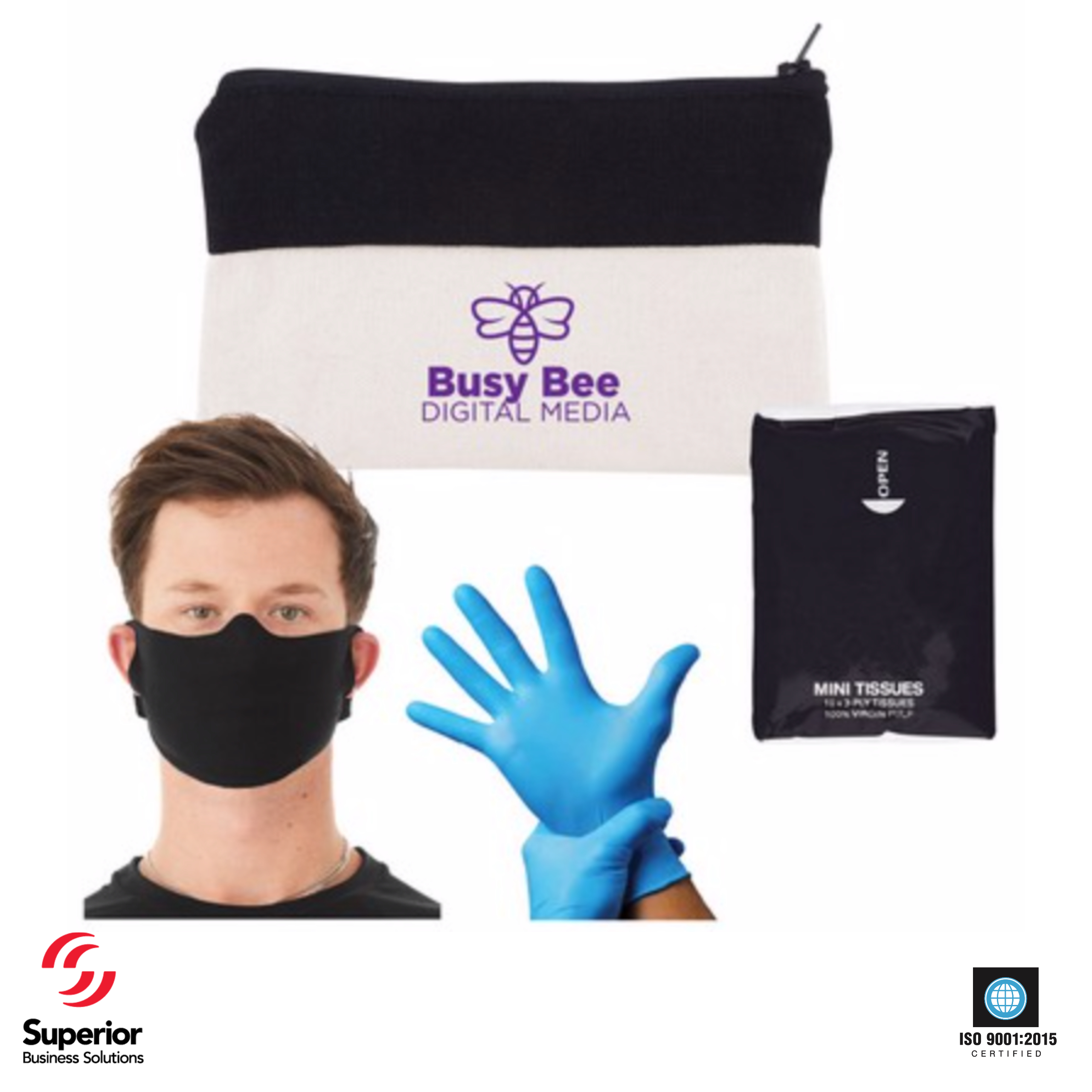 customized dropping by promotional kit with PPE for coronavirus
