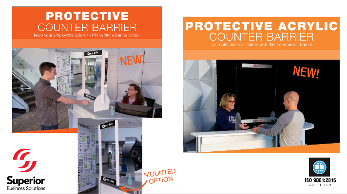 Branded Protective Counter Barriers with logo and without