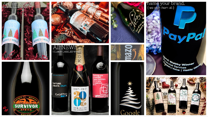Custom Labeled Fine Wines Artisan Foods Etched Bottles Tastefully Deliver Your Logo holiday promotional gifts