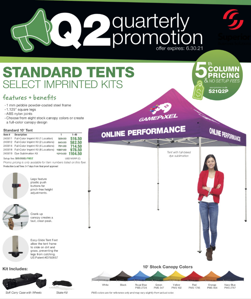 standard tents and select imprinted tents fifth column pricing with NO setup fees